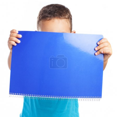 Boy with blue notebook