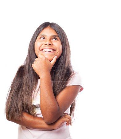 Happy girl thinking
