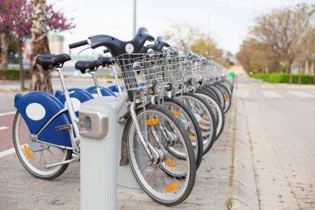 Bicycle row at street