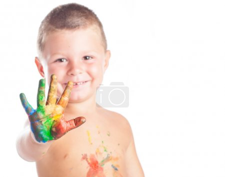 Kid with paited hands