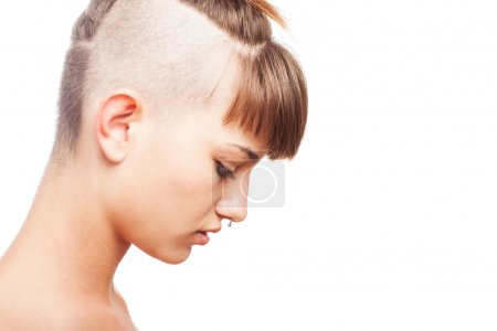 Shaved young woman