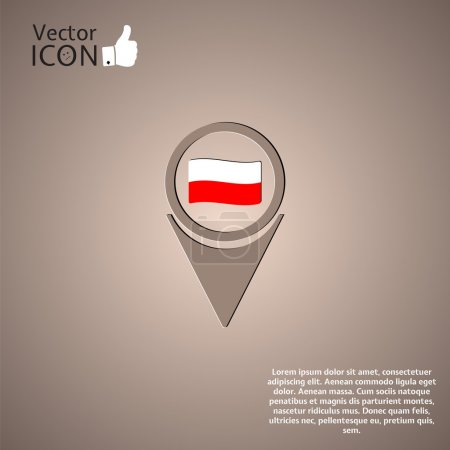 Map Pointer Icon With Poland Flag