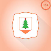 Map pointer with Christmas tree Location tree Flat design style Made in vector