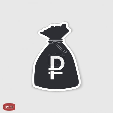 Ruble currency symbol. Russian currency. Money bag icon. Flat design style.
