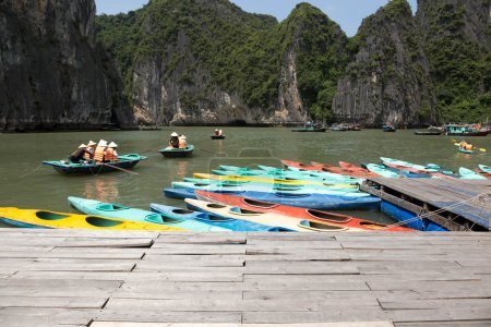 Colorful kayaks on the sea in Ha long bay Vietnam