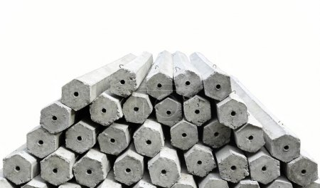 The pile of hexagon concrete foundation piles isolated