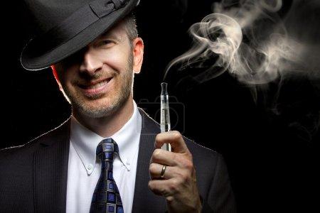 Man smoking a vapor cigarette