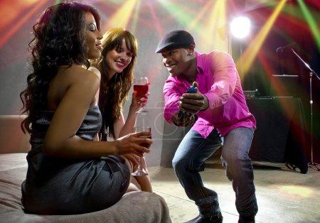 Man flirting with women
