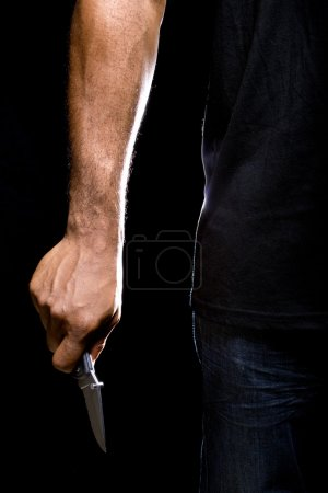 Robbers hands holding knife