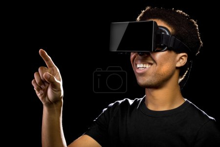 Virtual Reality headset on black male