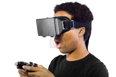 Male wearing a virtual reality headset