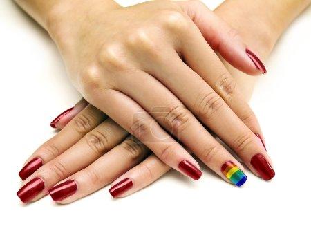 LGBTQ pride rainbow nail art