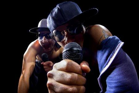 Rappers having hip hop concert