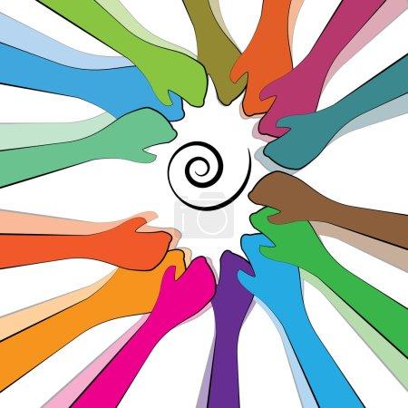 Illustration pour Des mains colorées avec un travail d'équipe efficace... ou... la collaboration des citoyens, de la société ou des amis . - image libre de droit