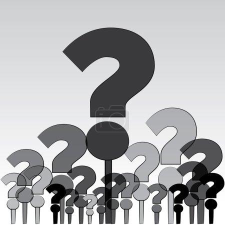 Illustration pour Groupe de questions (illustration) soulevés à un esprit humain. - image libre de droit