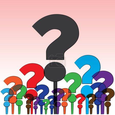 Illustration pour Groupe de coloré des questions soulevés à un esprit humain. - image libre de droit