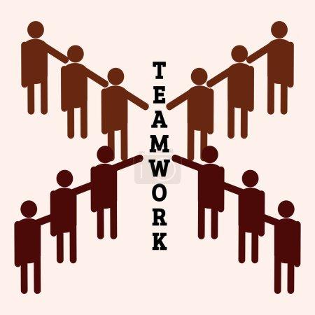 Illustration pour Un groupe qui travaille en équipe avec la coopération . - image libre de droit