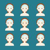 variety problem skin women face vector