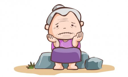 Sad old lady sit on the stone vector illustration...