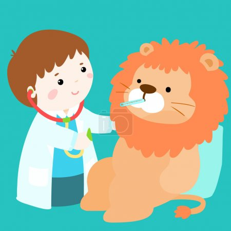 cute little boy heal lion doll vector