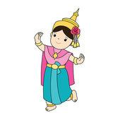 traditional classical Thai dancing woman vector