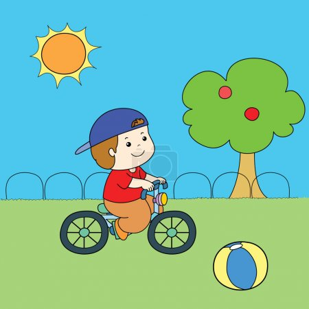 blue hat red shirt boy riding bicycle vector