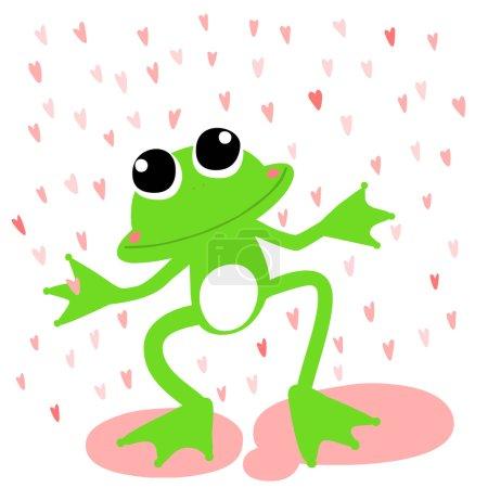 green frog love rainy day vector