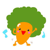 happy afro carrot dancing with music vector
