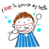 Kid lásku kartáček zuby vektorové ilustrace