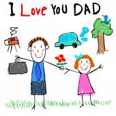 kid love dad drawing picture vector illustration