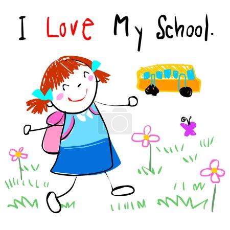 happy kid love to go to school vector illustration