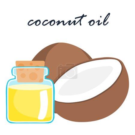 coconut oil super food ingredient vector illustratio