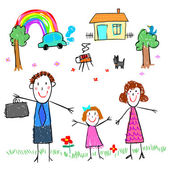 girl with family drawing picture vector illustration