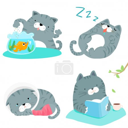 gray cat variety action pack vector illustration