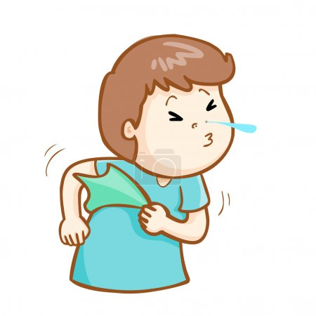 ill man sneezing cartoon vector