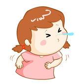 Nemocná dívka kýchání kreslené vektorové