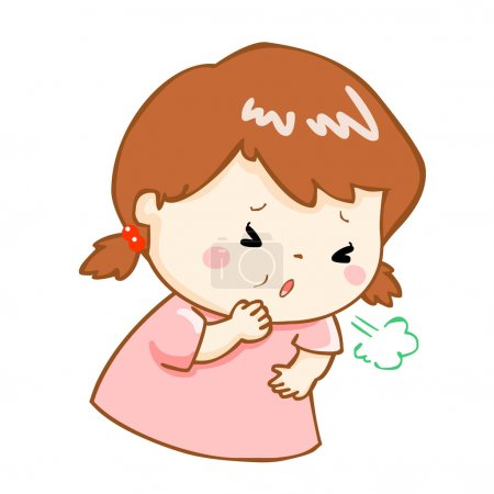 coughing girl cartoon vector illustration