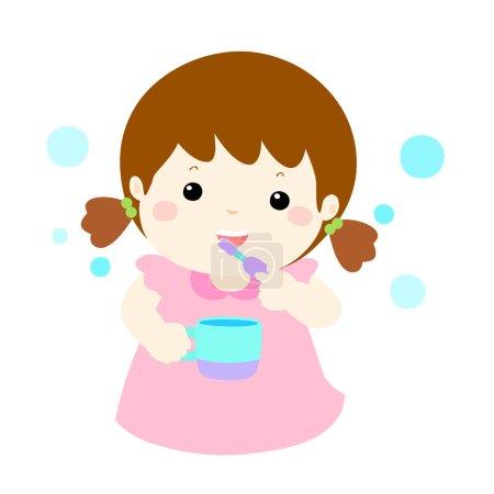 girl love brush teeth vector cartoo