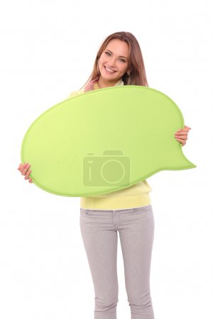 Photo for Portrait of a casual young woman holding blank card - Royalty Free Image
