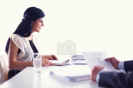 Customer and agent sitting at desk in a meeting or successful collaboration under businesspeople on  office.