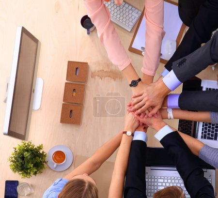 Photo for Business team with hands together - teamwork concepts - Royalty Free Image