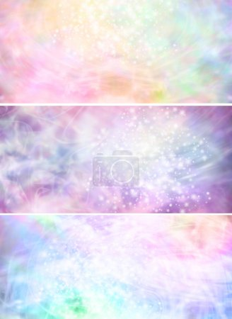 Misty sparkling pastel colored background banners x 3