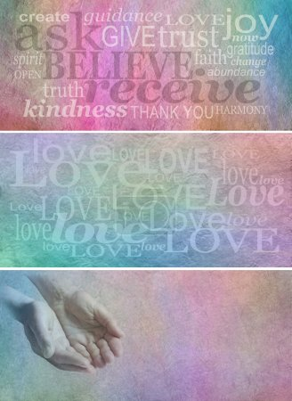 Photo for Three banners one with Ask Believe Receive surrounded by relevant words, one with different sized 'Love' words and the third with a pair of cupped male hands and copy space all on rough pastel colored stone effect backgrounds - Royalty Free Image