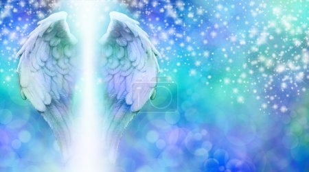 Photo pour Wide blue bokeh background with a rainfall of different sized sparkles falling from top to bottom and a large pair of Angel Wings on the left side with a shaft of bright light between - image libre de droit