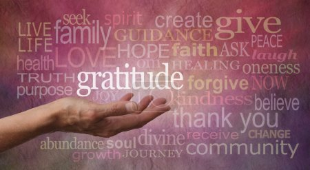 Photo pour Female hand outstretched with palm up and the word 'Gratitude' hovering above with a stone effect background covered in different colored and sized 'Gratitude' words - image libre de droit