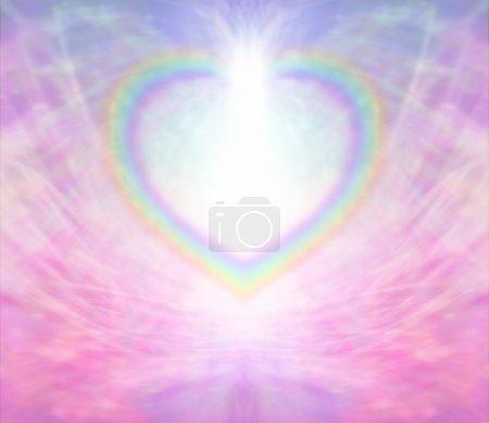 Rainbow Heart shape creating a border on a radiati...