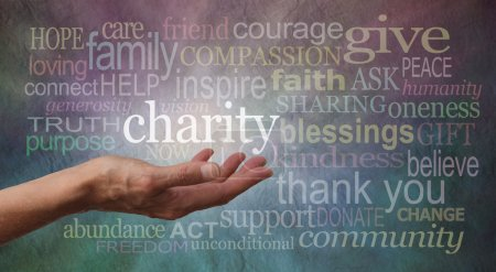 Photo for Woman's outstretched hand with palm upwards and the word 'Charity' in white floating above, surrounded by charity associated words on a cool colored stone effect background - Royalty Free Image