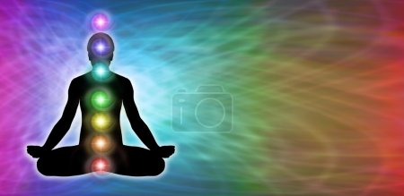 Photo pour Rainbow matrix colored background with male silhouette in lotus position on left hand side with seven chakra vortexes positioned centrally - image libre de droit