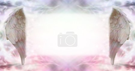 Photo pour Wide ethereal energy background flanked by two Angel wings with a large misty white message board area - image libre de droit