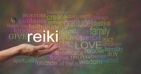 Female hand outstretched with the word REIKI float...